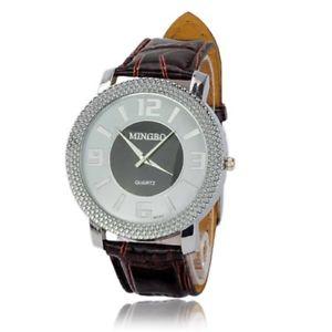 腕時計 ウォッチ レディースファッションgrande redondo de cuero marrn esfera blanca reloj de damas moda