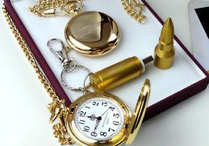 腕時計 ウォッチ ポケットジェームズボンドポータブルメモリキーチェーンバラセットreloj de bolsillo 007 james bond oro y usb memoria porttil llavero de lujo conjunto bala