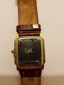腕時計 ウォッチ ミクロンkゴールドメッキクォーツムーブメントアラームreloj pertegaz 3 micras de 18k oro chapado movimiento cuarzo