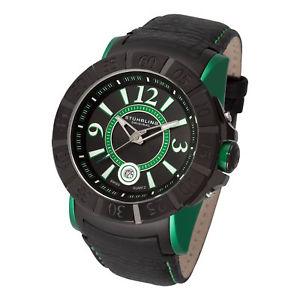 【送料無料】腕時計 ウォッチ ミリブラックカーフレザークォーツsthurling genx 543 hombres 50mm negro cuero de ternero krysterna reloj cuarzo