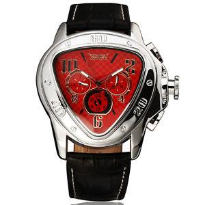 【送料無料】腕時計 ウォッチ ネットワーククロックブレスレットアラームjaragar reloj hombre triangle red pulsera de cuero reloj nuevo automticamentemech