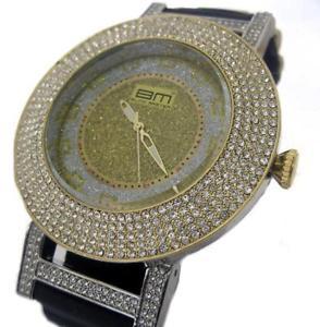 【送料無料】腕時計 ウォッチ ブラックラバーストラップウォッチブリングbling mrster 5 fila de hielo enchapados en oro de correa de caucho negro hiphop reloj