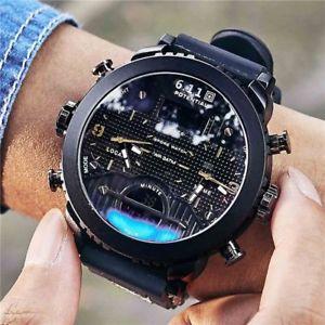 【送料無料】腕時計 ウォッチ デジタルスポーツデュアルスクリーンクォーツreloj de cuarzo para hombres relojes de pulsera led digital sports relogio masculino pantalla dual