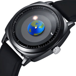 【送料無料】腕時計 ウォッチ アースサンムーンシリコンレザーmen women watch rotation earth sun moon astronomical silicone leather waterproof