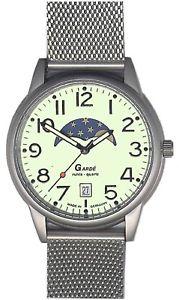 【送料無料】腕時計 ウォッチ ラムーンフェイズクロックgarde ruhla reloj de hombre con fase lunar y pantalla fecha real watch 37mm