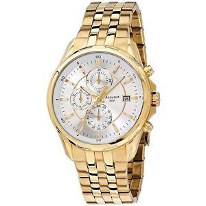 【送料無料】腕時計 ウォッチ アラームクロノグラフaccurist de caballero chapado en oro reloj crongrafo mb933s