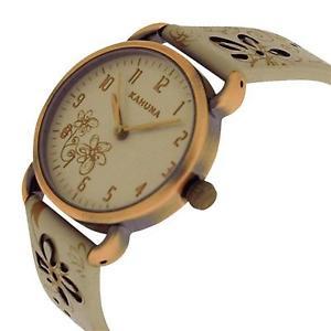 腕時計 ウォッチ レディースアナログブレスレットエリアkahuna seoras analgica, esfera de cuero genuino floral decorado correa de reloj