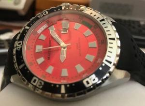 腕時計 ウォッチ ダイバースレッドレッドクラウンウォッチbuceador hombres reloj masterline de rosca corona rojo
