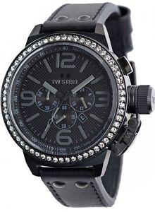 【送料無料】腕時計 ウォッチ アラームクロノグラフスチールミリブラックレザーブリングreloj crongrafo nuevo tw913 tw steel de cuero negro 50mm bling venta