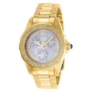 【送料無料】腕時計 ウォッチ ステンレススチールクオーツアラームドラドinvicta mujer ngel cuarzo 100m acero inoxidable reloj dorado 28438