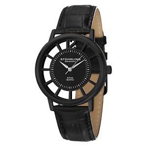 腕時計 ウォッチ ミリブラックカーフレザークォーツsthurling winchester del sol hombres 40mm negro cuero de ternero reloj cuarzo