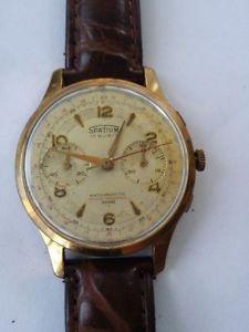 腕時計 ウォッチ クロノグラフkゴールドcronografo chronografh oro 18k spatium 17 rubis antimagnetic meccanico