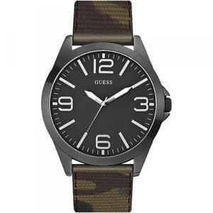 【送料無料】腕時計 ウォッチ カムフラージュorologio uomo guess w0181g5 camouflage militare pelle oversize nero dd