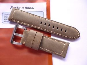 【送料無料】腕時計 ウォッチ ハンドメイドストラップパネライフィットホワイトヴィンテージhandmade strap in 24mm white vintage asso leather in 2422mm fit on panerai