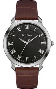 【送料無料】腕時計 ウォッチ クラシックブラウンレザーマンアラームストラップbulova clsico correa de cuero marrn esfera negra para hombre reloj 96a184