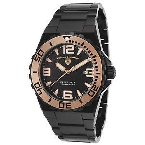 【送料無料】腕時計 ウォッチ スイスラブラックステンレススティールブレスレットアラームswiss legend 10008bb11ra negro brazalete de acero inoxidable hombres reloj