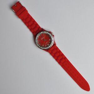 【送料無料】腕時計 ウォッチ シリコンラバーストラップラインストーンスポーツシリコンレッドウォッチsilicona reloj de pulsera goma estrs xl sport silicona reloj pulsera m4 rojo