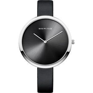 【送料無料】腕時計 ウォッチ ベーリングレディーシルバーブラックレザーサテンノベルティbering 12240602 reloj de pulsera seora plata negro satncuero novedad