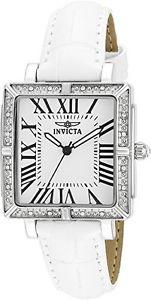 腕時計 ウォッチ ワイルドフラワースイスムーブメントホワイトレザーウォッチベルトinvicta 14433 mujer flor silvestre swiss movimiento reloj correa de cuero blanco