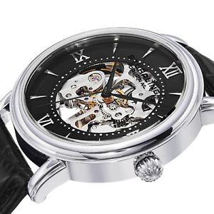 腕時計 ウォッチ ステンレスタイミングベルトスチールスケルトンクロックsthurling hombres 458g2 acero inoxidable reloj esqueleto con extra correa de