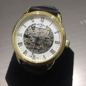 腕時計 ウォッチ スケルトンロータリーゴールドスチールブラックウォッチpara hombres reloj rotary esqueleto automtico oro pvd acero negro cuero genuino
