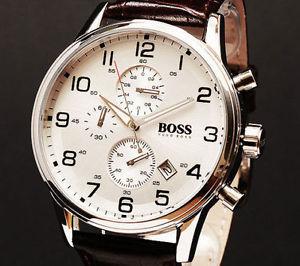 4ced8cace3d1 【送料無料】腕時計ウォッチヒューゴボスブラウンクラシッククロノグラフレザーストラップ ...