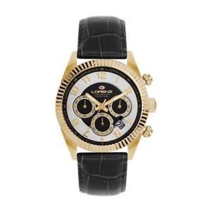 腕時計 ウォッチ クロノブラックゴールドサブメートルreloj de hombre lorenz ginevra 030093hh chrono cuero negro dorado sub 100mt