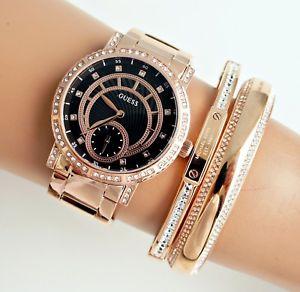腕時計 ウォッチ アラームステンレススチールゴールデンピンクブラックguess reloj mujer w1006l2 constelacin acero inox rosa dorado  negro nuevo