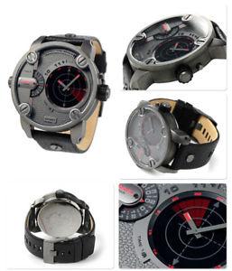 【送料無料】腕時計 ウォッチ ブラックレザーデュアルリトルローマレーダーゾーンアラームdlesel dz7293 poco pap de doble zona de cuero negro reloj de radar