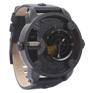 【送料無料】腕時計 ウォッチ ブラックレザーデュアルリトルローマレーダーゾーンアラームdlesel dz7292 poco pap de doble zona de cuero negro reloj de radar