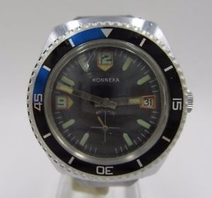 【送料無料】腕時計 ウォッチ ビンテージダイバーアラームクロックダイビングl154 vintage konnexa diver mano reloj de pulsera reloj buceo reloj