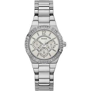 【送料無料】腕時計 ウォッチ クロノグラフシルバーorologio guess envy w0845l1 watch acciaio cronografo donna zirconi 29mm silver