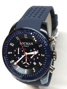 腕時計 ウォッチ クロノブルorologio locman aviatore chrono 44mm acciaio blugomma 580 scontatissimo