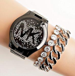 【送料無料】腕時計 ウォッチ スリムウォッチカラーブラックガラスoriginal michael kors reloj mujer mk3589 slim runway color negro cristal