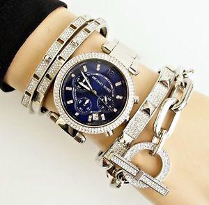 【送料無料】腕時計 ウォッチ パーカーカラーシルバーガラスoriginal michael kors reloj mujer mk6117 parker color plata cristal nuevo
