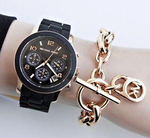 【送料無料】腕時計 ウォッチ シリコンウォッチカラーブラックゴールドoriginal michael kors reloj mujer mk5191 runway silicona color negro oro
