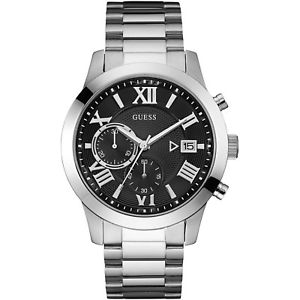 腕時計 ウォッチ エスクロークロノグラフorologio guess escrow w0668g3 watch acciaio uomo cronografo nero 44mm romani