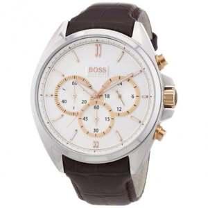 【送料無料】腕時計 ウォッチ ヒューゴボスブラウンレザーテクスチャクロノグラフアラームhugo boss 1512881 marrn textura de cuero crongrafo reloj de hombre