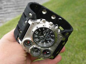 腕時計 ウォッチ バイソンレザーコンパスデュアルタイムスチームパンクbison cuero tiempo dual brjula reloj de pulsera motero hombres steam punk