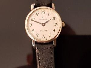 【送料無料】腕時計 ウォッチ アラームレザーストラップレディースgarrard seoras reloj de oro de 9ct en reloj correa de cuero