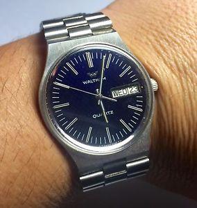 腕時計 ウォッチ ミリスイスステンレススチールクオーツアラームnos 600ms waltham hecho en suiza cuarzo acero inoxidable reloj esfera azul