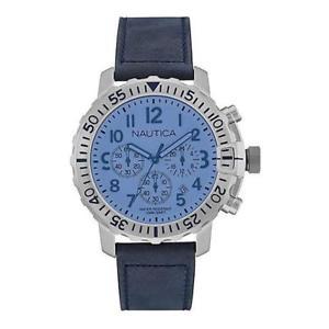 腕時計 ウォッチ ナイクロノペレブルアッズーロメートルorologio uomo nautica nms 01 nai19534g chrono pelle blu azzurro  100mt