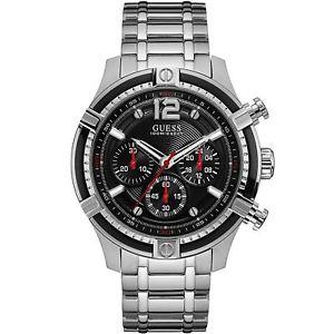 【送料無料】腕時計 ウォッチ クリスマスgguess reloj para hombre plata negroimpresionante regalo presente navidad cumpleaos w0968g1