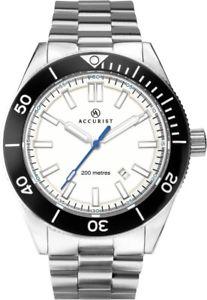 腕時計 ウォッチ シグネチャーホワイトダイビングアラームaccurist hombre firma esfera blanca 200m wr buceo reloj 7271