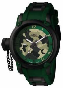 【送料無料】腕時計 ウォッチ ロシアダイバーマングリーンポリウレタンアラームステンレススチール1197 invicta hombres buceador ruso verde poliuretano, reloj acero inoxidable