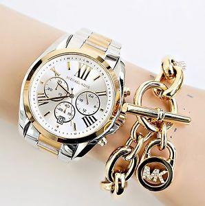 【送料無料】腕時計 ウォッチ クロックカラーゴールドシルバーoriginal michael kors reloj mujer mk5627 bradshaw xl color oroplata nuevo