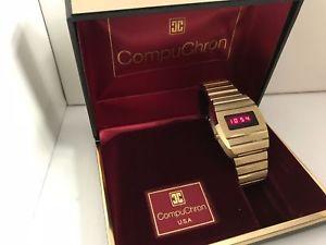 【送料無料】腕時計 ウォッチ クォーツcompuchron quartz lcd led watch gold plated
