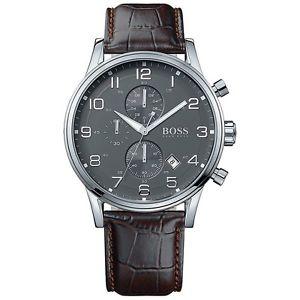 【送料無料】腕時計 ウォッチ ヒューゴボスクロノグラフブラウンoriginal hugo boss hb1512570 aeroliner chronograph reloj hombre de cuero marrn nuevo