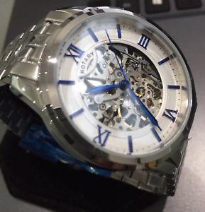 【送料無料】腕時計 ウォッチ スケルトンロータリーホワイトローマpara hombres reloj automtico rotativo genuino esqueleto exibition 21 joyas romano blanco