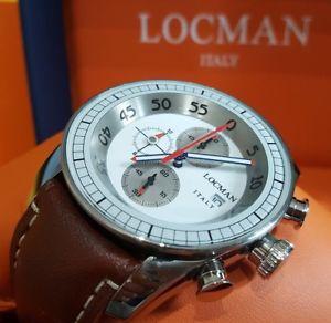 【送料無料】腕時計 ウォッチ クロノグラフクロノペレシルバーパイロットorologio cronografo locman aviatore chrono pelle marrone silver 44mm pilot 480